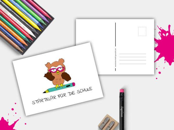 Postkarte Startklar für die Schule