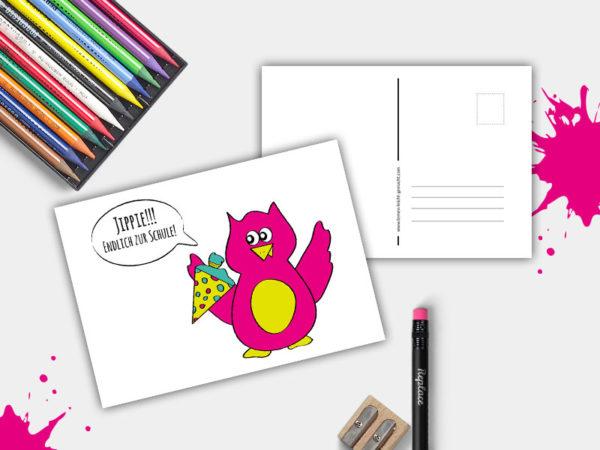 Postkarte-Yippie-Endlich-zur-Schule